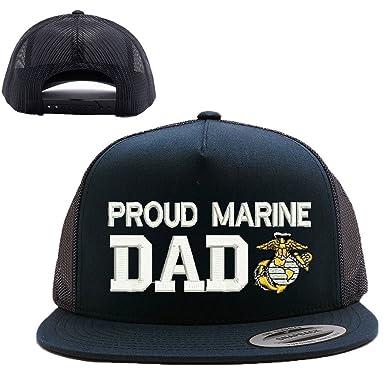 e45a020f02c Amazon.com  Military Proud Marine DAD USMC MESH Trucker SNAP Closure Cap HAT   Clothing