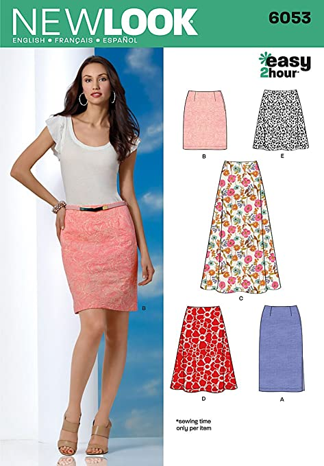 New Look 6053 Size A 8/10/12/14/16/18 Misses Skirts Easy 2 Hour ...