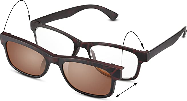 Clip-On READ OPTICS: Gafas de Lectura Presbicia + Lentes de Sol ...