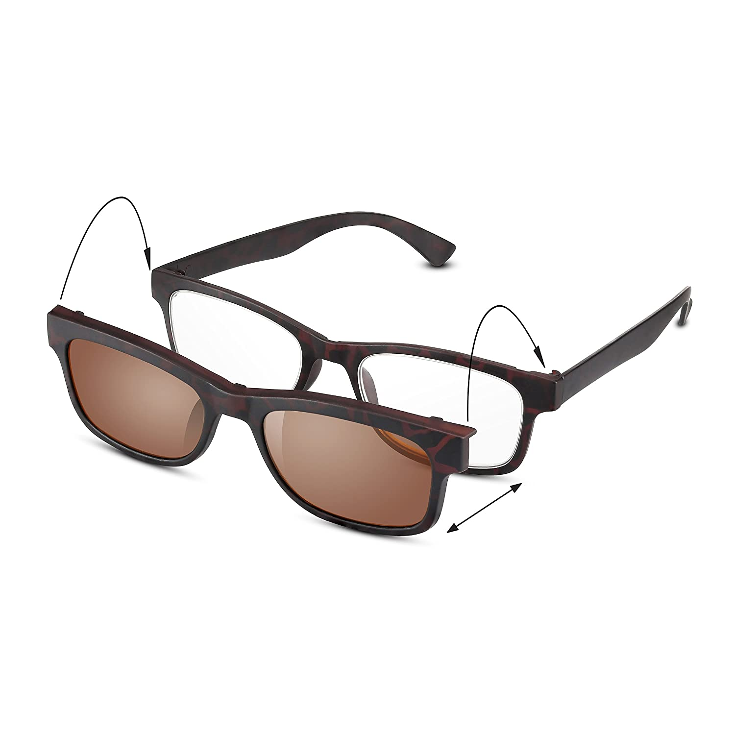 6135f26e93 Read Optics New 2-in-1 Clip-On Sunglasses  +2 Mens Womens Reading Glasses  Transform into Sun Readers with UV-400 Tinted Lens. Fashionable Italian  Style.