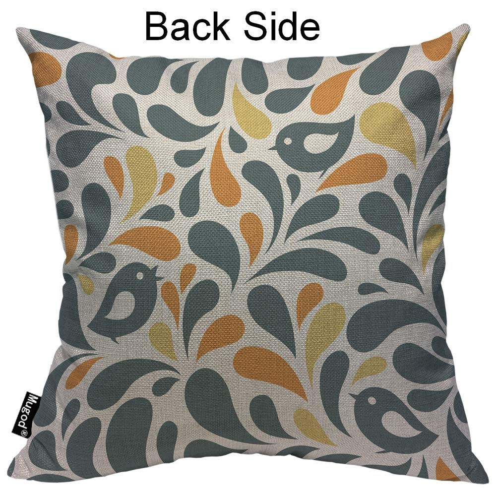 Mugod Clover Throw Pillow Elegant Floral Flower Lucky Four-Leaf Clover Teal Grey White Cotton Linen Square Cushion Cover Standard Pillowcase 18x18 Inch for Home Decorative Bedroom//Living Room//Car