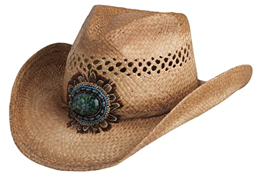 3b2a1ad1ac142 Conner Hats Women s Navajo Western Bead and Feather Raffia Hat ...
