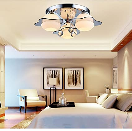 Led Crystal Ceiling Lamp Round Modern Minimalist Master Bedroom Lamp Warm Romantic Room Lamp Restaurant Lighting Ceiling Lights