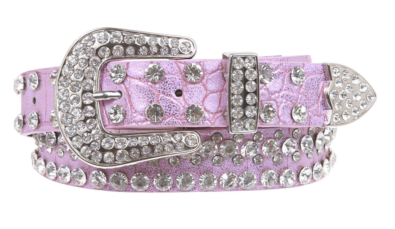 MONIQUE Kids Stylish Western Cowgirl Rhinestone Studded Skinny 27 mm Wide Belt,Pink 28 Inch