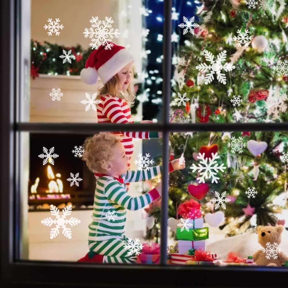 mixigoo Fensterbilder Schneeflocken 87 Fensterdeko Schneeflocken Wiederverwendbar Wandtattoo Statisch Haftende PVC Aufkleber f/ür Winter und Weihnachten