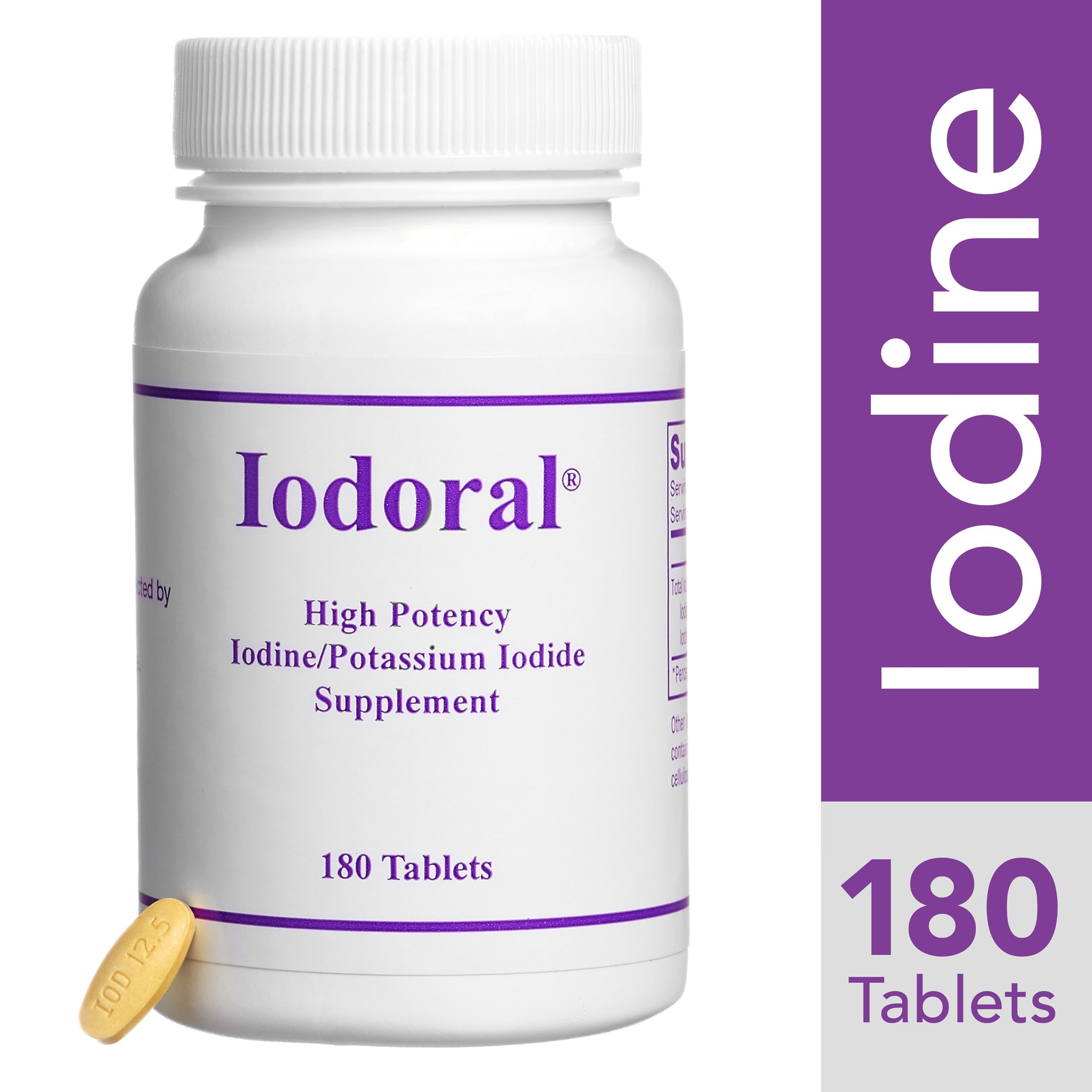 Optimox - Iodoral, High Potency Iodine Potassium Iodide Thyroid Support Supplement, 180 Tablets