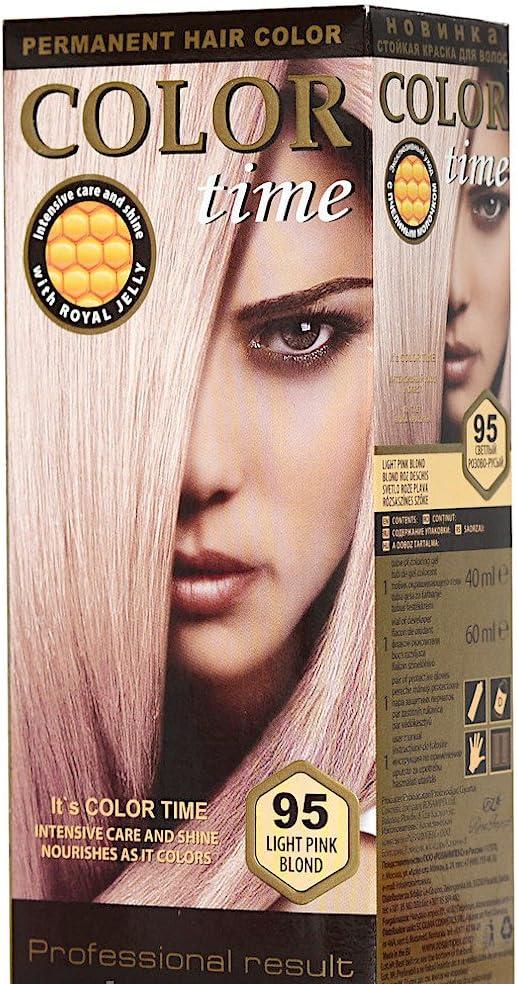 Color time, tinte permanente para el cabello de color rubio rosa claro 95