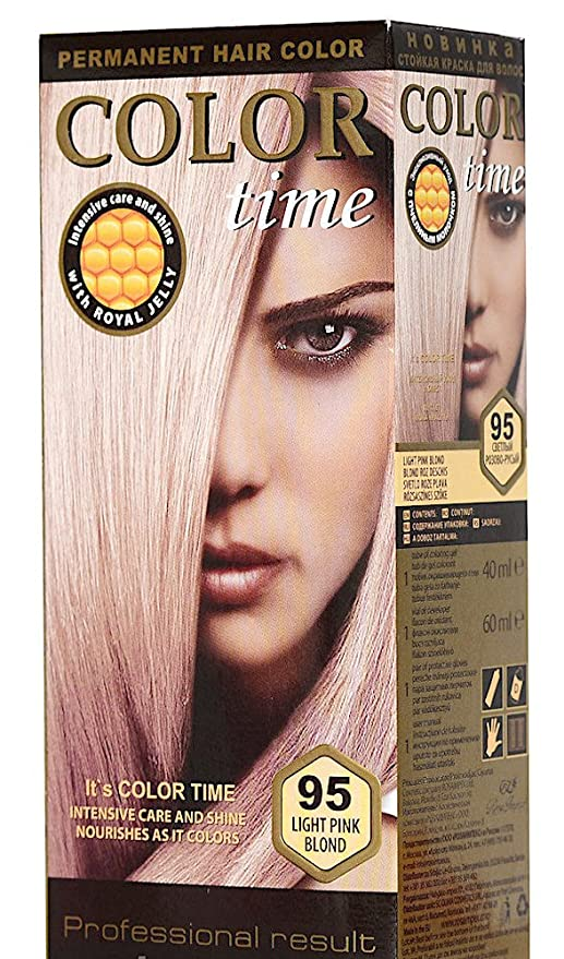 Color time, tinte permanente para el cabello de color rubio rosa claro 95