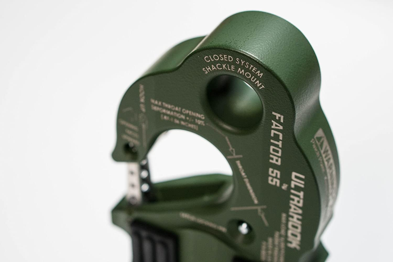 OD Green Factor 55 UltraHook Winch Hook with Shackle Mount