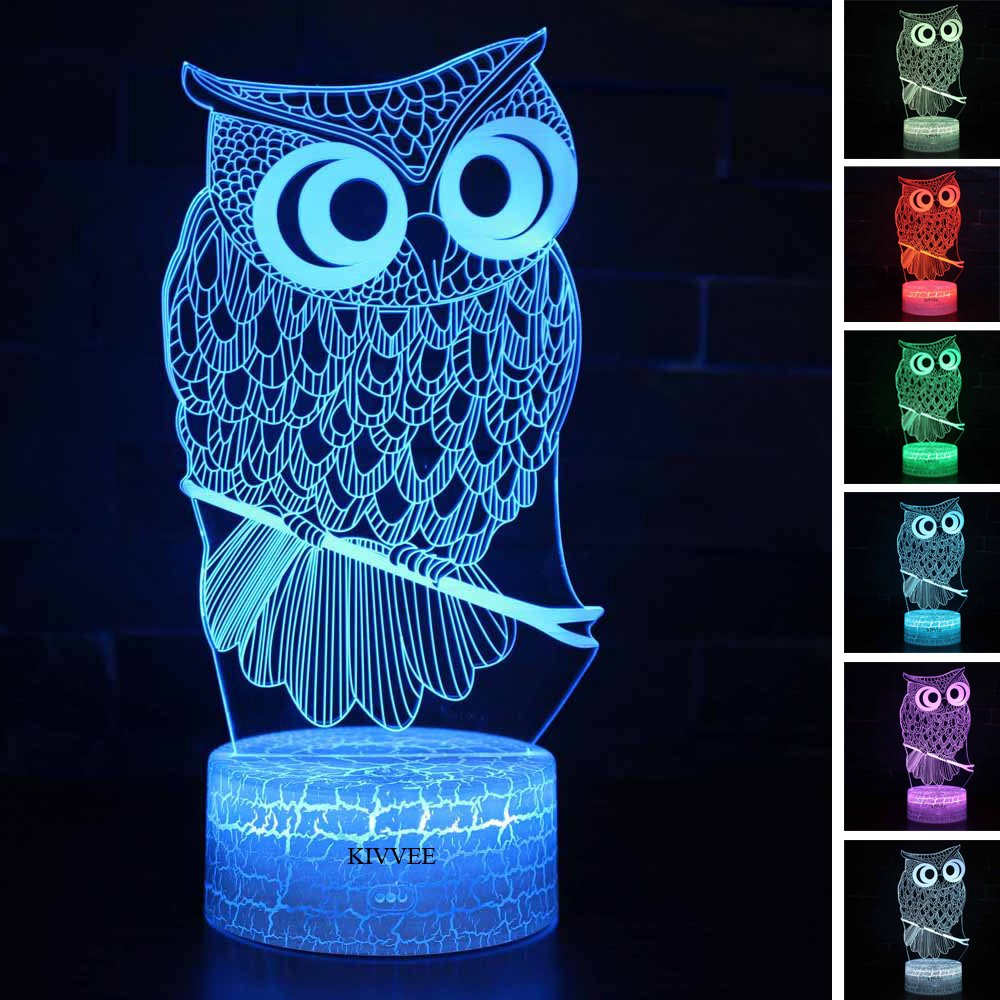Owl Toys Visual 3D lamp Illusion Night Light Festival Birthday Valentines Day Children Gift Nursery Bedroom Desk Table Decoration for Boys Kids Children Animal Lovers by KIVVEE by KIVVEE