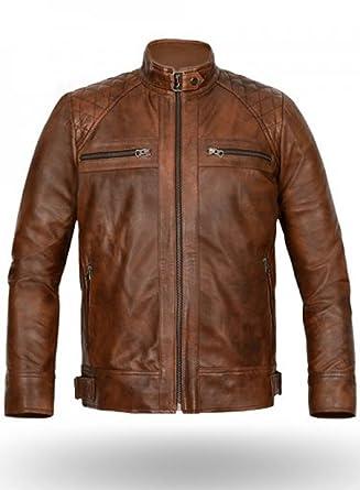 New York Leather Men's Spanish-Brown Bomber Biker Jacket at Amazon ...