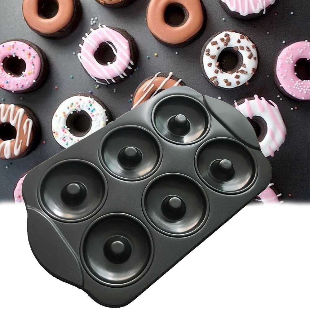 CHEFHUB Carbon Steel Donut Pan Donut with handle Donut Maker Nonstick 6-Cavity Easy to Clear︳Large Cake Doughnuts Begals Baking Pan Mold Tray D=3.5''FDA Approved Non-Stick Coating ︳Perfect Shape by USGO (Image #5)