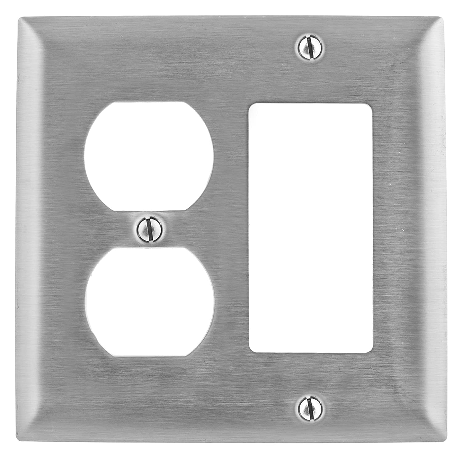 Standard Size 4-Gang With Removable White Protective Film Bryant Electric SS326 Metallic Wallplate StainlessSteel 302//304 3 Toggle 1 Decorator//GFCI Openings