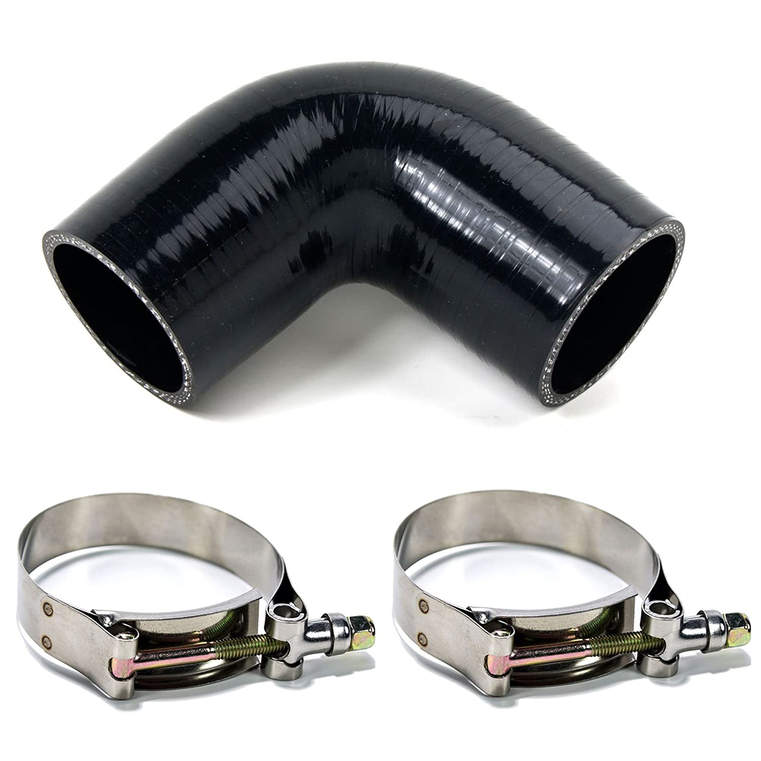 Squirrelly 2.75 inch Black Silicone Coupler 90 Degree Turbo Intake Intercooler Pipe w// 2x T-Bolt Clamps