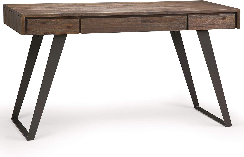 SIMPLIHOME Lowry Desk, 54 inch, Rustic Natural Aged Brown