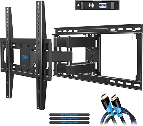 Mounting Dream TV Mount Full Motion TV Wall Mounts for 26-55 inch, Some up to 65 inch LED, LCD Flat Screen TV, Wall Mount Bracket up to VESA 400 x 400mm 99 lbs. Fits 16 , 18 , 24 Wood Studs MD2380-24