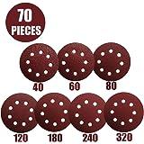 Schleifpapier 125mm Klett - Schleifscheiben 125 mm Schleifpapier Exzenterschleifer 8 Loch Körnung je 10 x 40/60/80/120/180/240/320 (Insgesamt 70 Stück)