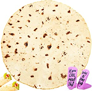 Burrito Blanket Novelty Taco Blanket with Realistic Tortilla Print Round Soft Tortilla Blankets Giant Burrito Blanket for Adults Kids in Bed/Sofa/Office/Picnic/Travel/Airplane with 2 Wine Socks (71in)