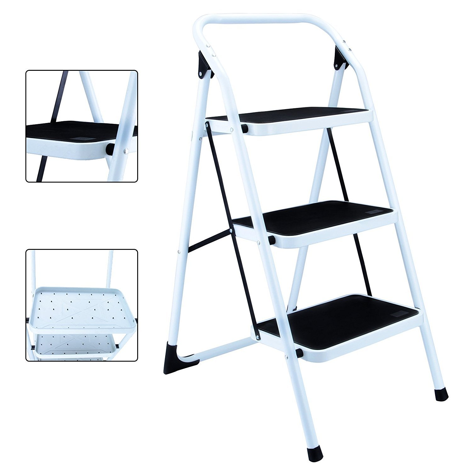 Gaogoo Folding 3 Step Ladder Anti-Slip Sturdy and Wide Pedal 330lbs Portable Steel Step Stool Kitchen Home Use