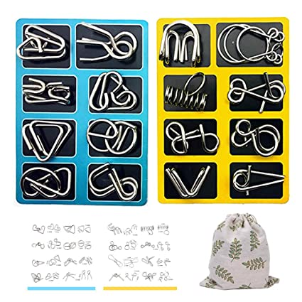 Brain Teasers Puzzle Games,Brain Toys,IQ Test Mind Game Toy Gift for Kids  Adults(8 PCS)