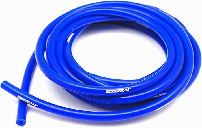 "Autobahn88 High Performance Silicone Vacuum Hose, ID 0.12"" (3mm), OD 0.31"" (8mm), 15 Feet per reel (4.5 Meter), Blue"