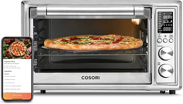 COSORI Smart 12-in-1 Air Fryer Toaster Oven Combo, Countertop Dehydrator for Chicken, Pizza and Cookies, Christmas Gift, Recipes & Accessories Included, Work with Alexa, 30-L, Silver