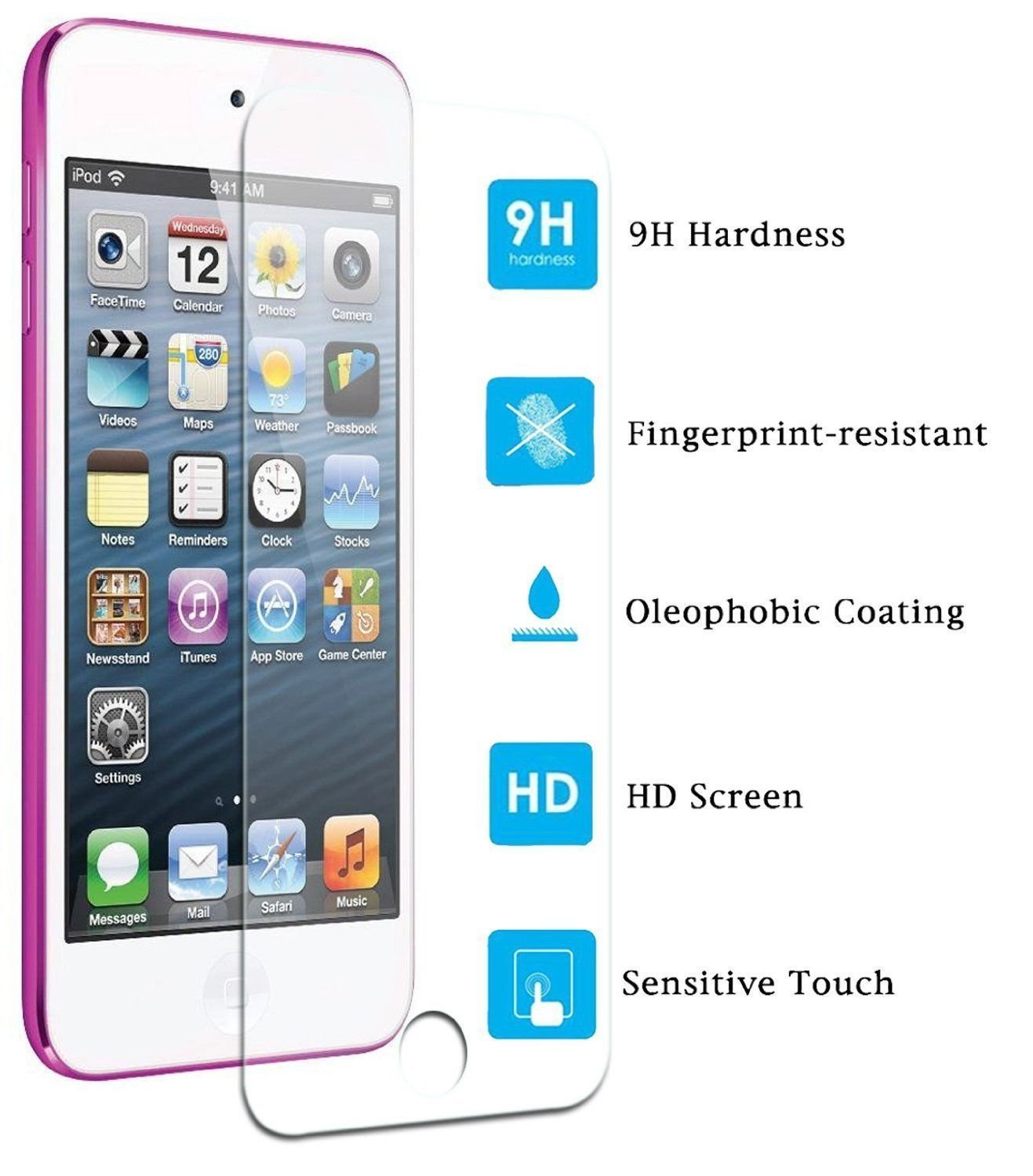 6G Screen Protector 99/% HD Clarity /& Touchscreen Accuracy Tough Case Army iPod Touch 5 6th 5th 5G Reduce Fingerprint Premium Ballistic Glass for Apple iPod Touch 5 6 Tempered Glass 6