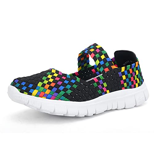 S&L Women Water Shoes Sports Shoes Casual Breathable Woven Flat Shoes