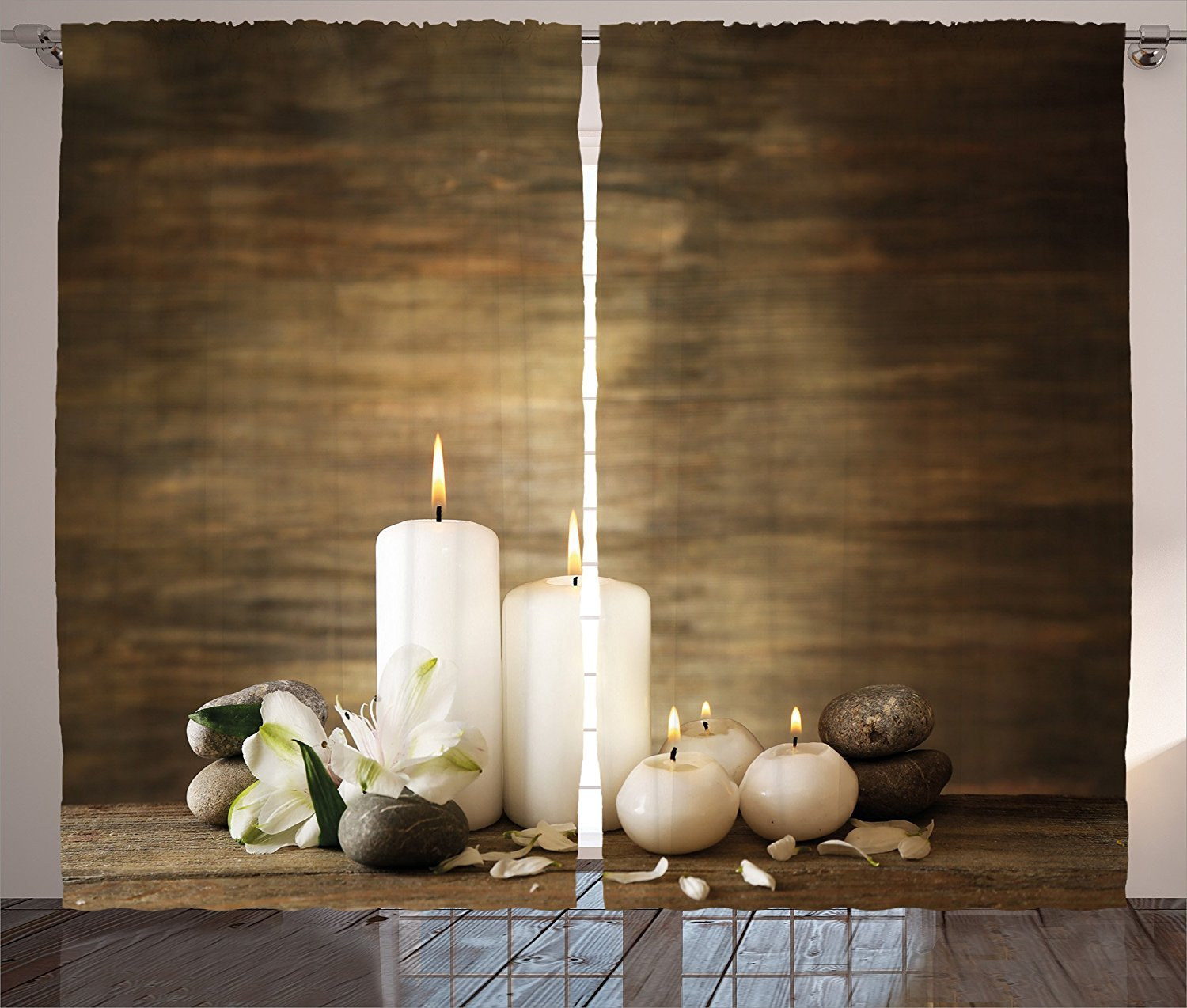 Spa Decor Curtains Composition of Pure Candles Wooden Background with Stones and Flower Petals Living Room Bedroom Window Drapes 2 Panel Set Brown and White