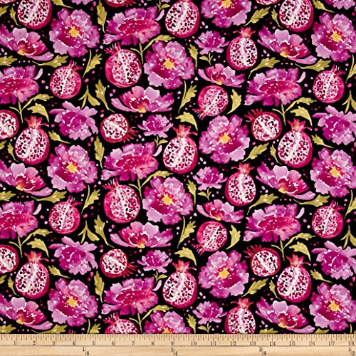 Corinne Haig Artichoke Garden Peonies & Poms Black Fabric By The Yard