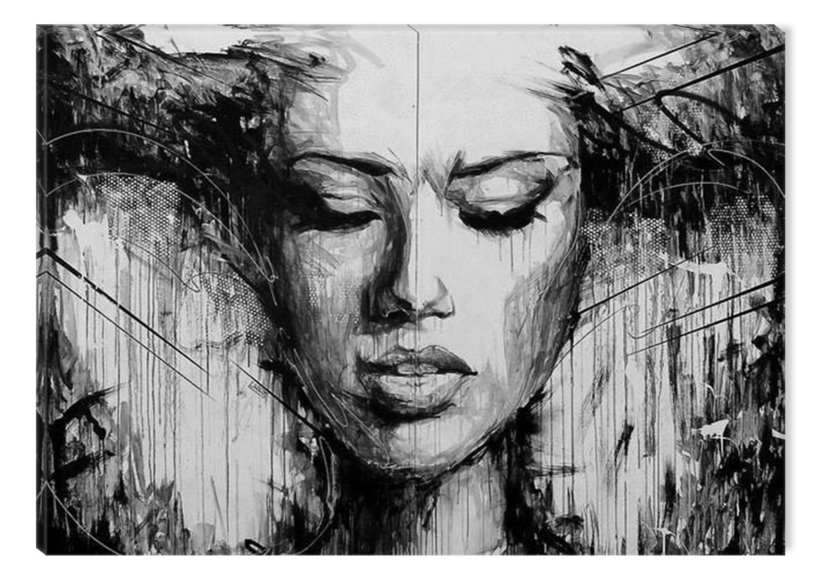 Inspirational Art Black and White Beautiful Woman Canvas Wall Art Abstract Picture Eco Light Framed Ready to Hang Artwork for Home Decoration by Inspirational Art