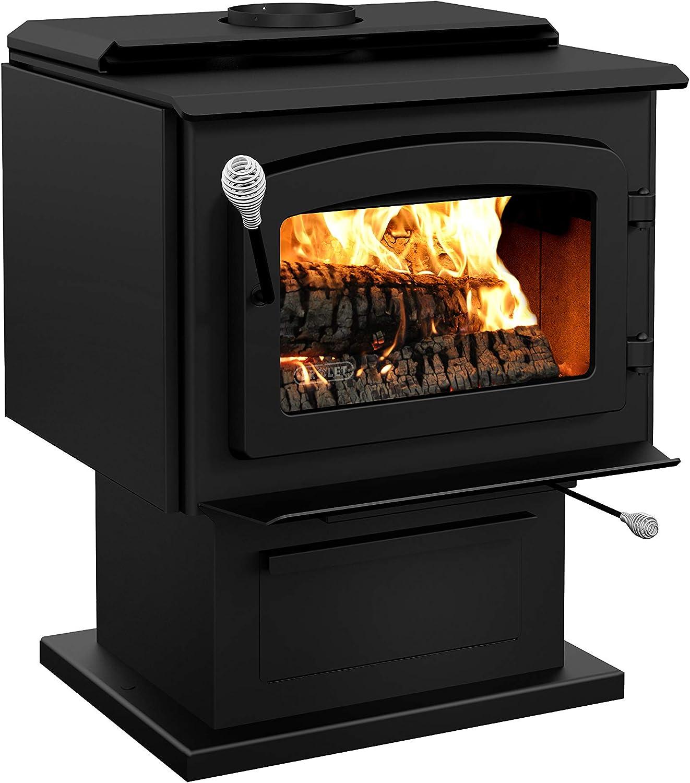 Drolet Wood Stove On Pedestal Model Escape 1800 - Black Door DB03102