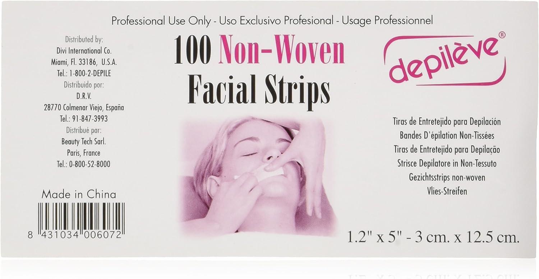 Depiléve Tiras Faciales No Tejidas 100-Piezas 2 g: Amazon.es: Belleza