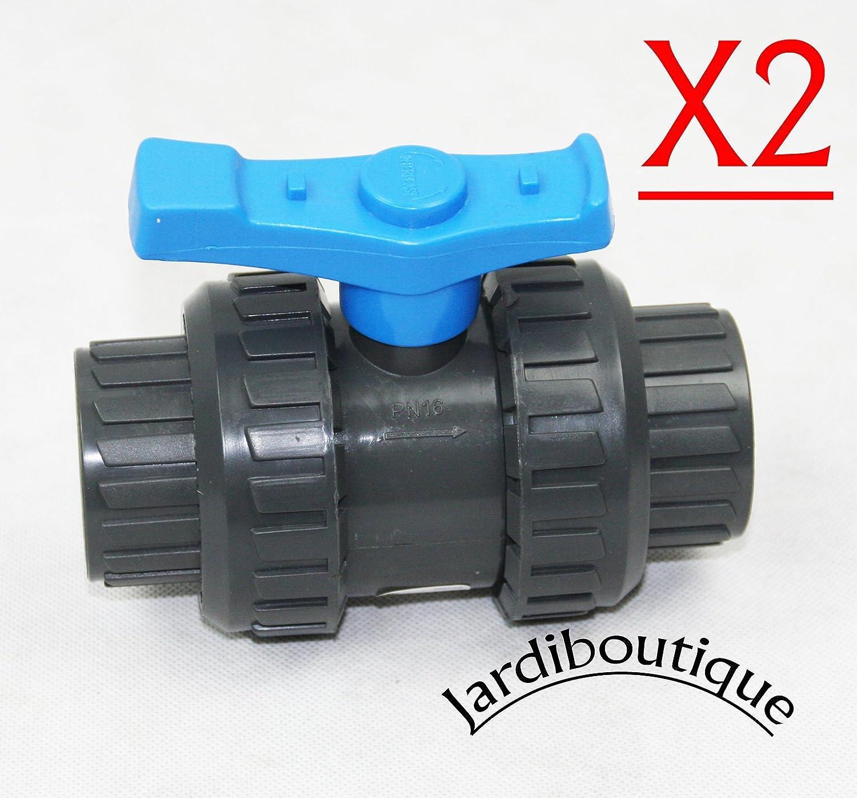 Dos Válvulas en PVC, SVT para manguera de diámetro 32mm (Lote 2válvulas)–jardiboutique Dos Válvulas en PVC sas mv