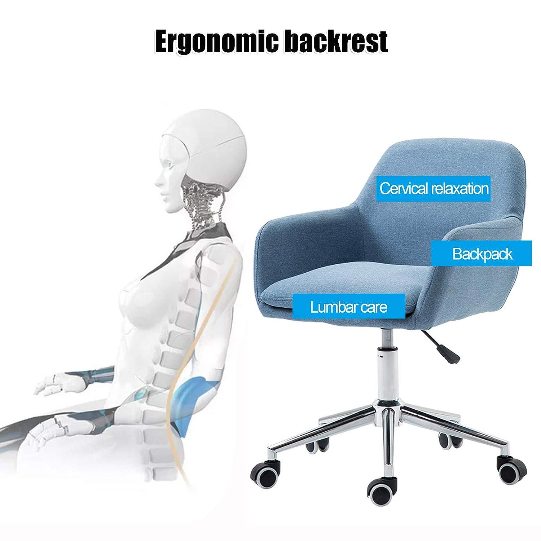 360° svängbar stol mitten av ryggen dator uppgift stol korsryggsstöd med tjock linnekudde för kontor hem, vardagsrum (Max belastning 150 kg) BLÅ