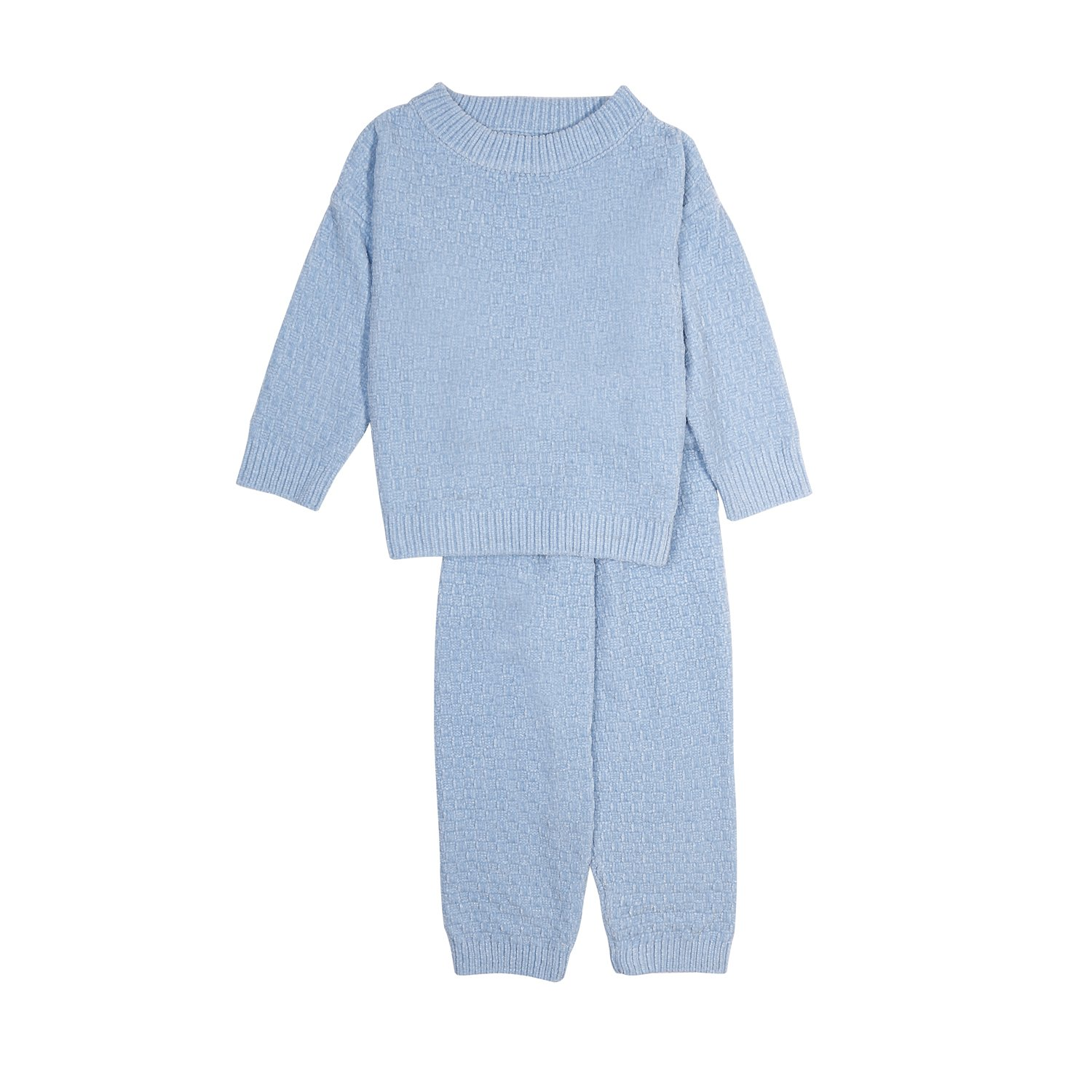 Baosdooya Childrens Home Wear and Knitted Chenille Long Sleeve Tops and Long Pants with Round Neck Winter Sleeping Clothes