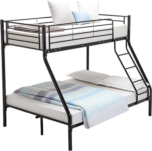 3FT Single 4FT6 Double Metal Bunk Bed Frame for 3 Sleeper Adult Kids Children