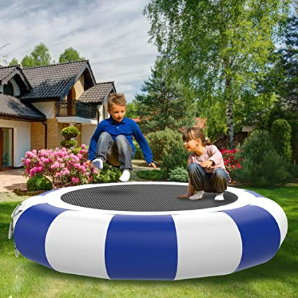 10Ft Inflatable Water Trampoline Jump Floated Water Bounce Platform w// Ladder
