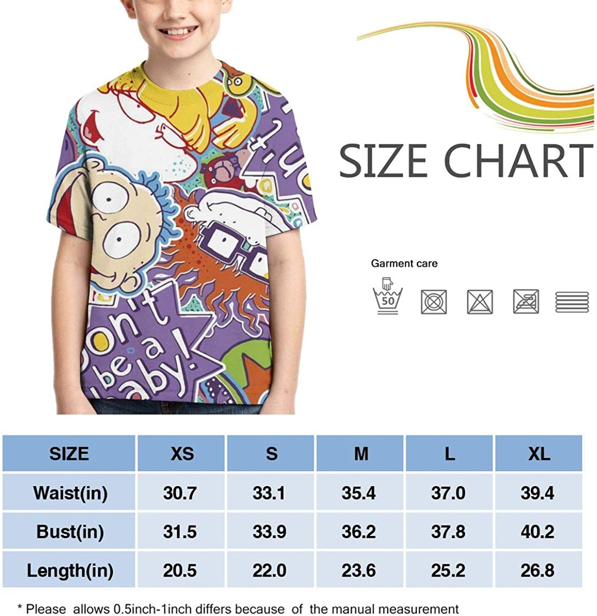 Other1 Rugrats Baby Teens Crew Neck Sweat-Absorbent Breathable Sports Short-Sleeved Summer Boys T-Shirt