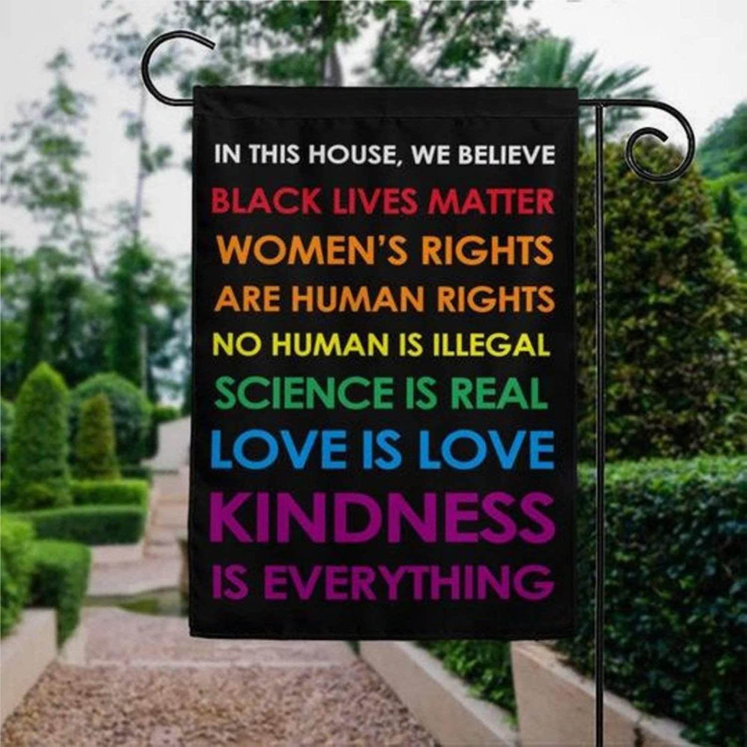 """Garden Flag in This House We Believe Black Lives Matter House Flag BLM LGBT Yard Decor House Decor Flag Seasonal Banners for Patio Lawn Outdoor 28x40"""""""