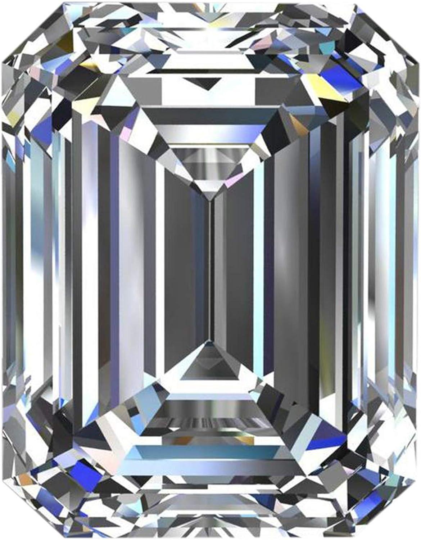 Gemhub VS + Esmeralda Corte Moissanite Blanco E/F Color Moissanite Tallado Esmeralda Moissanite Piedra Suelta para el Colgante/Anillo de la joyería