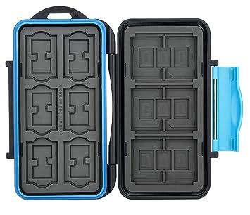 flashwoife Turtle-SD12CF3MSD21 Tarjeta de Memoria Impermeable Caja Protectora para 3 x CF Compact Flash Card, 12 x SDHC y 21 x MicroSD, grabación ...