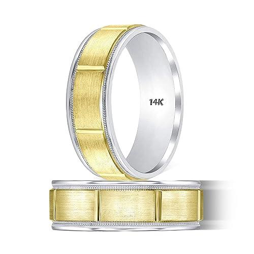 Amazon Com Tousiattar Gold Wedding Bands For Women Handmade Two