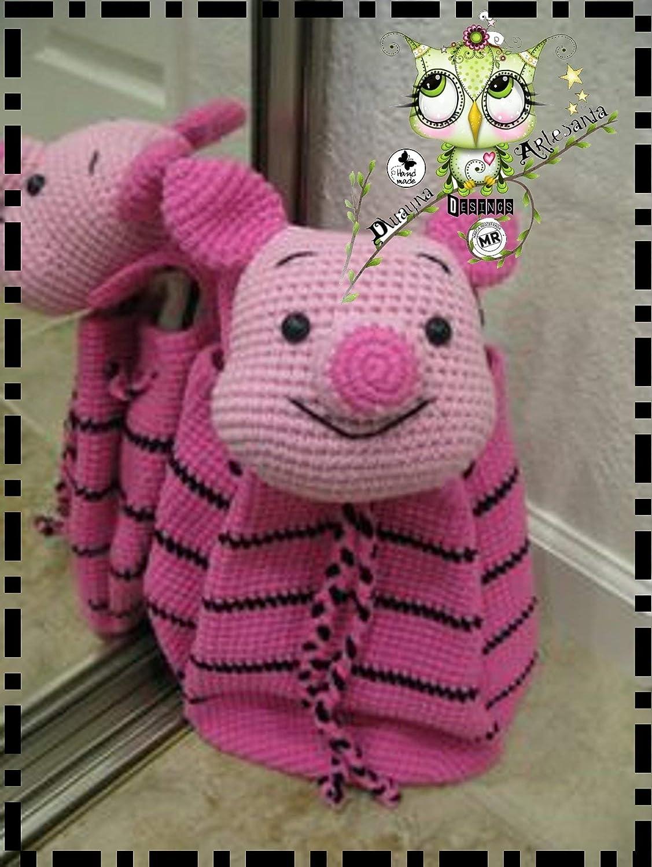 Mochila Peppa Pig PERSONALIZABLE (Bebé, crochet, ganchillo, muñeco, peluche, niño, niña, lana, mujer, hombre) MODA, OREJERA, AMIGURUMI, MONTAÑA, NIEVE, ...