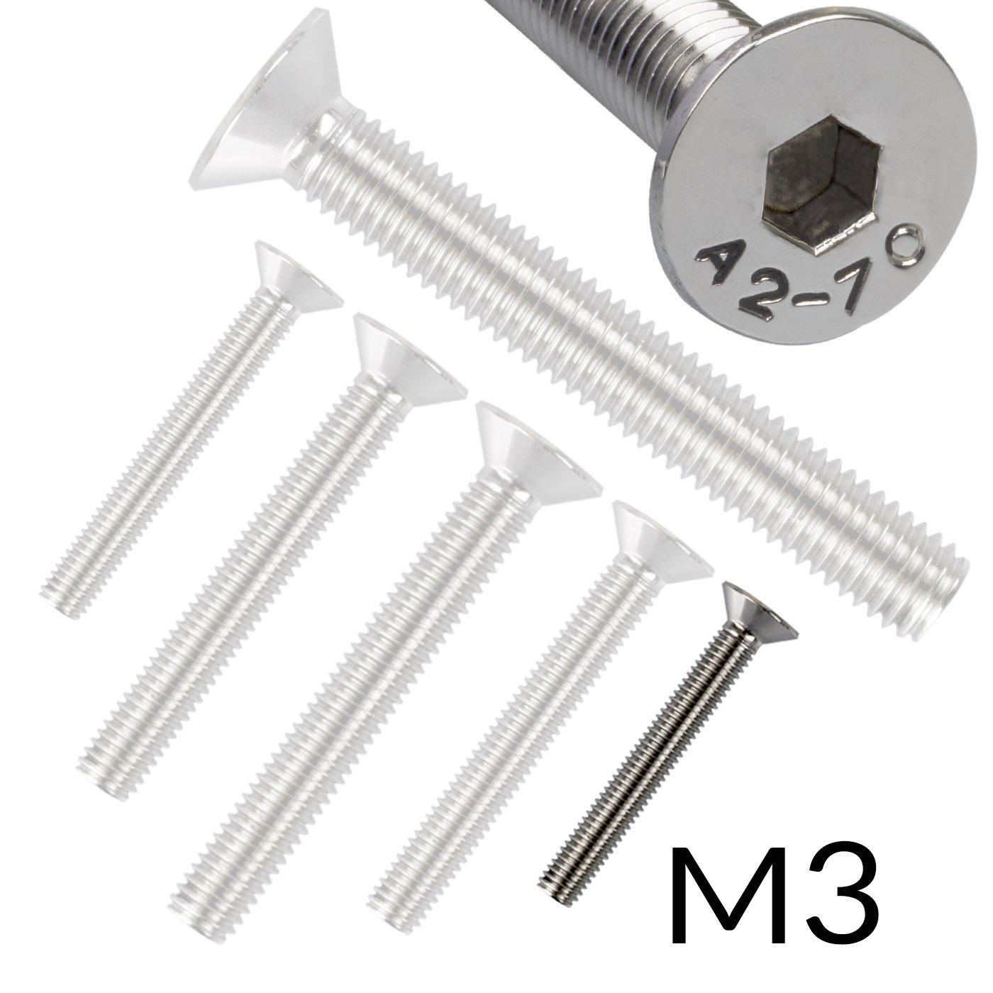 10 Senkkopfschrauben mit InnensechskantEdelstahl M 8 x 60 mm Vollgewindeschrauben Schrauben DIN 7991 A2