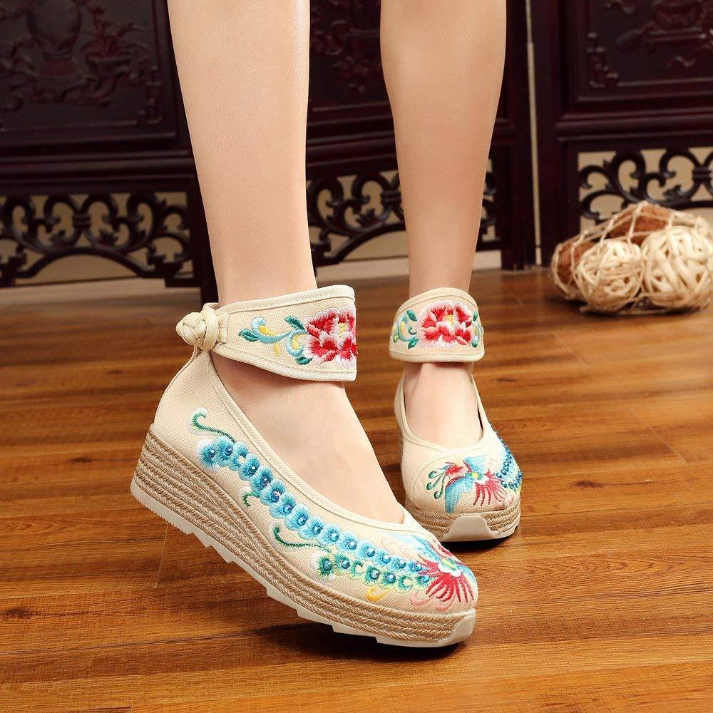 Fuxitoggo Bestickte Schuhe Leinen Sehnensohle Ethno-Stil Erhöhte Damenschuhe Mode bequem lässig Meter weiß 38 (Farbe   - Größe   -)