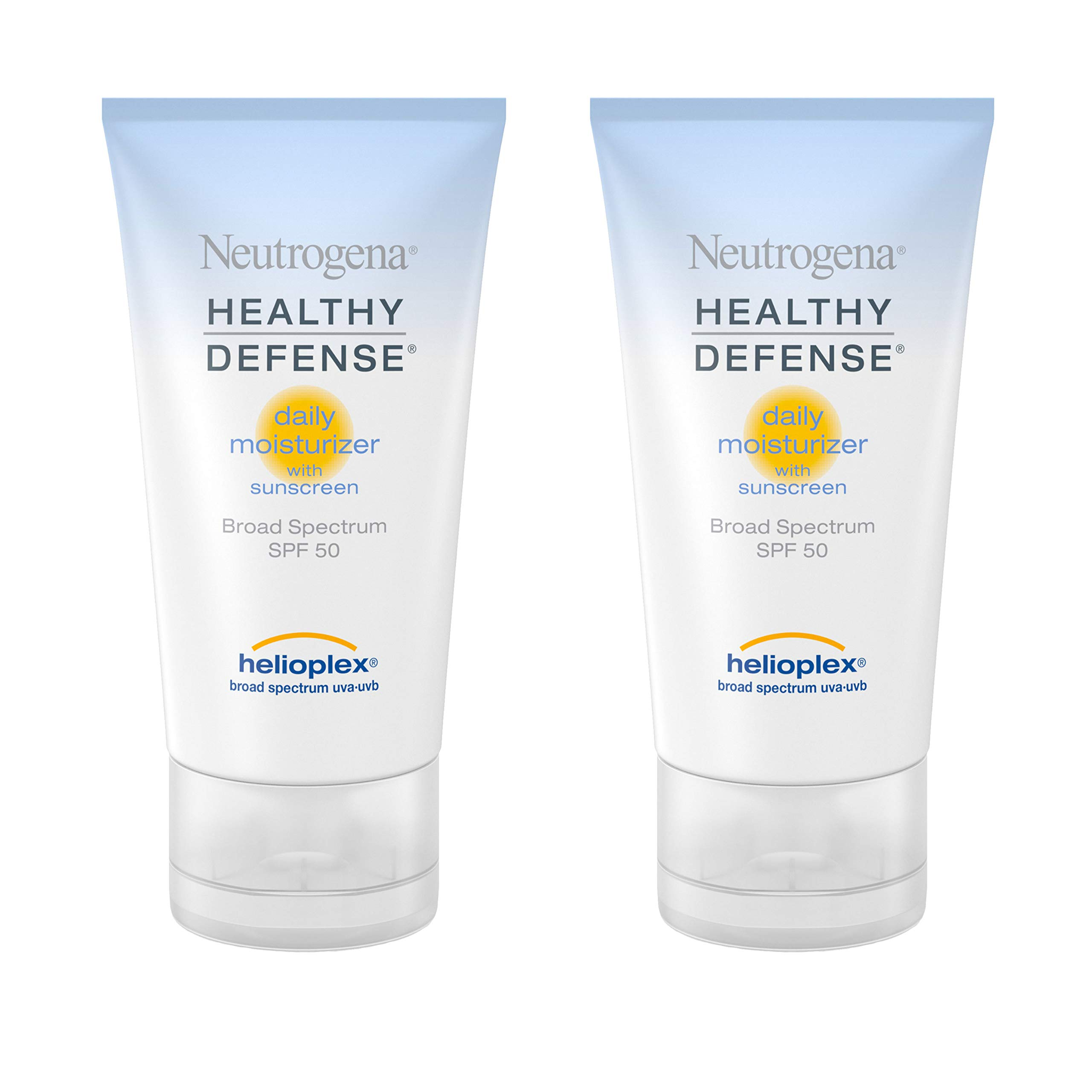 Neutrogena Healthy Defense Daily Vitamin C & Vitamin E Face Moisturizer, Non-Greasy Anti Wrinkle Face Lotion & Neck Cream with SPF 50 Sunscreen - Multivitamin Complex, 1.7 fl. oz(Pack of 2) by Neutrogena
