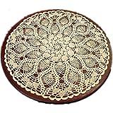 "YIZUNNU Beige Round Handmade Crochet Tablecloth Cotton Lace Table Doilies (24"")"