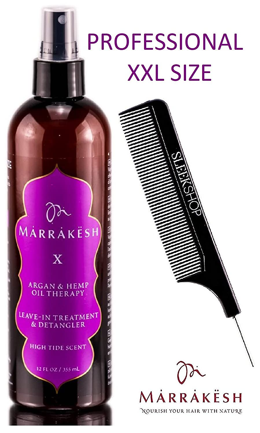 Marrakesh X Leave-In Treatment & Detangler with Argan & Hemp Oil Therapy Spray Conditioner by Earthly Body (with Sleek Steel Pin Tail Comb) (High Tide - 12 oz/XXL PRO) Earthly Body by Marrakesh