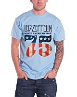 Led Zeppelin North American Tour 75 USA Flag Official Mens Blue T Shirt